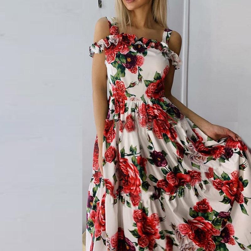 Sexy Floral Dress Women Sleeveless Beach Party Dress Female Elegant Dress Bodycon Sundress Down Swing Dress 2020 Female Frock
