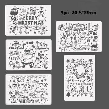 цена на Christmas Stencil Bullet Journal Painting Template DIY Wall Painting Scrapbook Embossing Album Decorative Template Cake Stencil