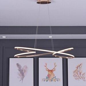 Image 2 - ניאו זהב בוהק מצופה כרום מודרני Led תליון אורות חדר אוכל מטבח חדר בר חנות תקרת מנורת 90 260V משלוח חינם