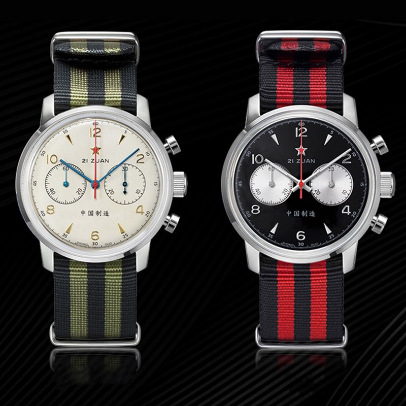 42mm Dial 1963 Chronograph Pilots Watch Men Sapphire Clock Original ST1901 Seagull Movement Men's Mechanical Watch Skeleton Back