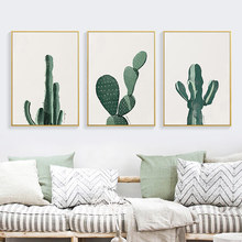 TaaWaa Modern Minimalist Cactus Canvas Painting Growth Process Poster Wall And Print Nordic Style Living Room Decorative cheap Canvas Printings Waterproof Ink Green plant Unframed Separate Canvas Poster COTTON Spray Painting Vertical Rectangle Europe