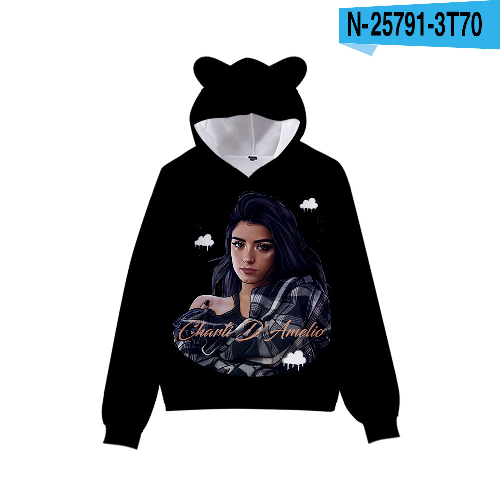 3D Print Charli D'Amelio Hoodies Boys/Girls Cat ears Hip hop Kpop Sweatshirts Hooded Autumn Winter Charli Damelio Merch Tops 11