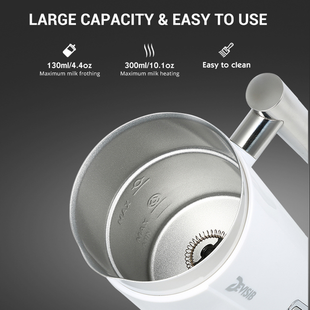 DEVISIB Automatic Milk Frother Milk Steamer Electric Cappuccino Hot Cold Coffee Stainless Steel CE GS 220V