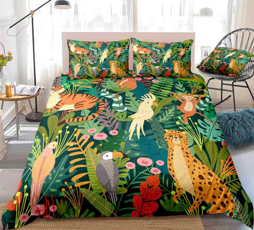 Wilde Tiere Bettwäsche Tropischen Pflanzen Bettbezug Set Papagei Affe Muster Palm Blätter Quilt Abdeckung Königin Bett Set Kinder Dropship Bedding Sets Aliexpress