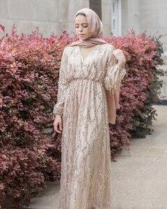 Image 3 - Di modo di Paillettes Nappa Abaya Turco Abiti Hijab Musulmano Abito Da Dubai Abaya per Le Donne Caftano Marocain Caftano Abbigliamento Islamico