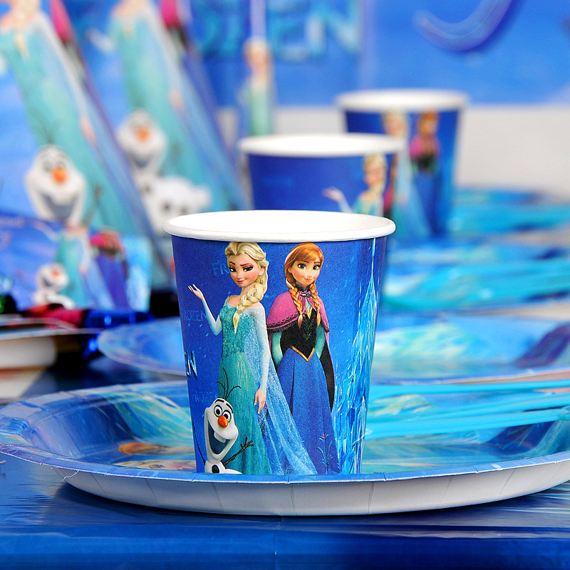 Disney Frozen Anna and Elsa Princess Design Disposable Tableware Paper Cup Plate Baby Shower Birthday Party Decorations Supplies-1