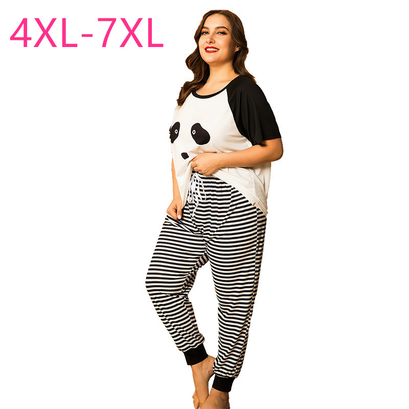 New Summer Plus Size Pajamas For Women Loose Stripe Panda Print T-shirt And Long Pants Home Wear Two Piece Suits 4XL 5XL 6XL 7XL