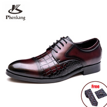 Shoes Formal-Dress Crocodile-Pattern Classic Wedding Pointed Genuine-Leather Mens Lace-Up