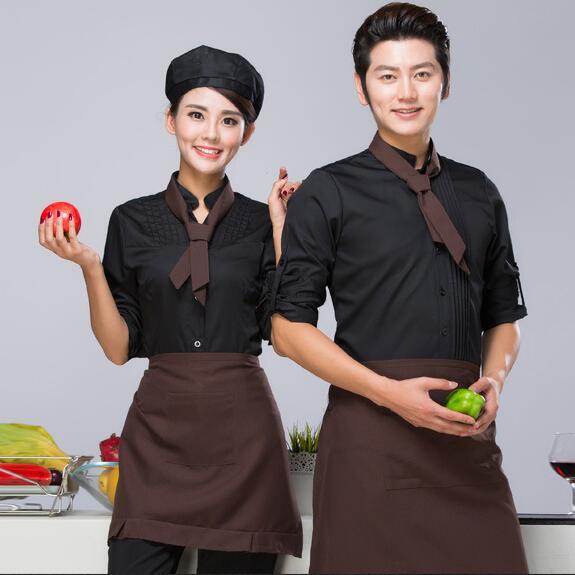 Спецодежда для персонала отеля с длинным рукавом, форменная форма официанта для фаст-фуда, униформа официантки для кофейни, рабочая одежда