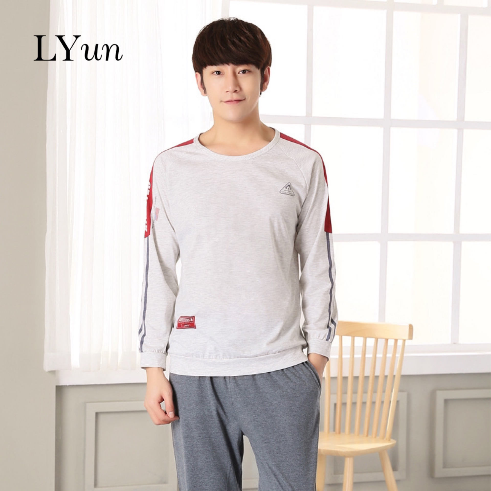 LYun Pajamas Men's Summer Cotton Long-sleeved Casual Thin Section Men's Youth Summer Cotton Home Service Suit Spring And Autumn