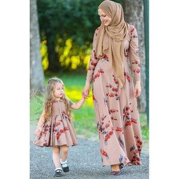 נשים פרחוני מודפס העבאיה ארוך שרוול שמלה בתוספת גודל קפטן הרמדאן עיד שמלת דובאי המרוקאי האסלאמי גלימה מוסלמית VKDR2181