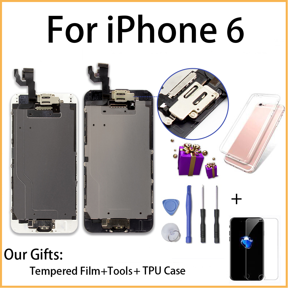 Full Assembly LCD Display for iPhone 6 6s Screen Replacement 3D Touch Digitizer Assembly+Home Button+Front Camera Complete LCDs image