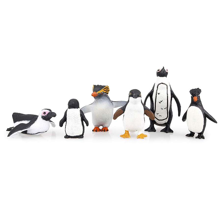Simulation Penguin Models Figurines,Polar Arctic Animal Figures Antarctic Set,Easter Eggs Cake Toppers Christmas Birthday Gift 3