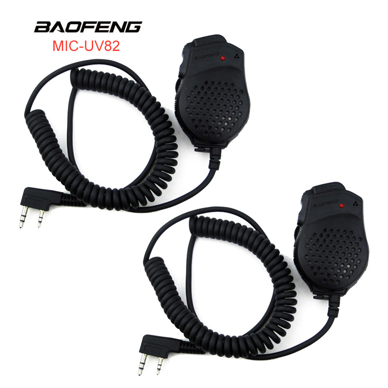 Baofeng Speaker Mic Microphone Dual PTT For Pofung Walkie Talkie UV-82 UV82  Portable CB Radio