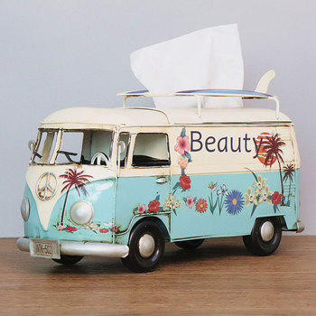 Flower Retro Iron Bus Tissue Box Model Figurines Car Craft Home Decoration Accessories for Living Room Ornaments for Home Decor 24