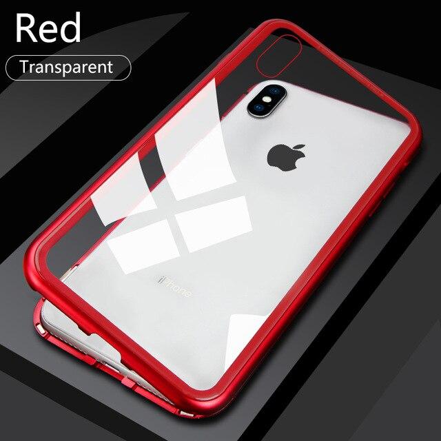 Металлический магнитный адсорбционный чехол для iPhone 7, 8, 6, 6s Plus, X, XR, закаленное стекло, задняя крышка на магните для iPhone 6, 6s Plus, X, XS, Max, чехол - Цвет: Transparent Red