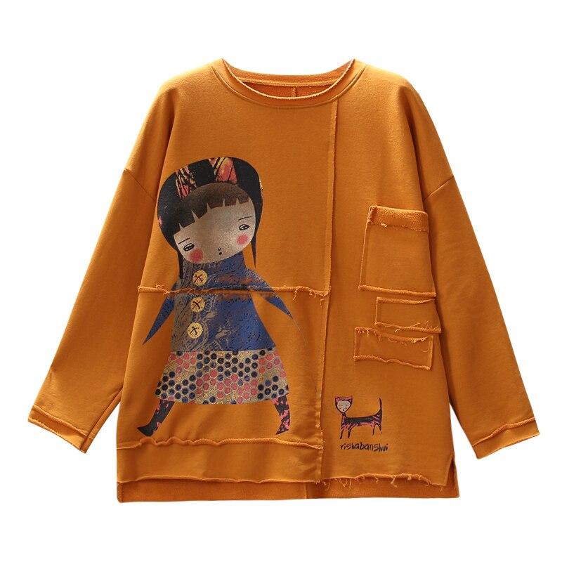 O neck größe T shirt lange hülse frauen herbst lose stile cartoon gedruckt T shirt frauen shirts Freies Größe Tees weiblich z3 - 6