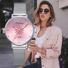Watches For Women Luxury Silver Popular Pink Dial Flowers Metal Ladies Bracelet
