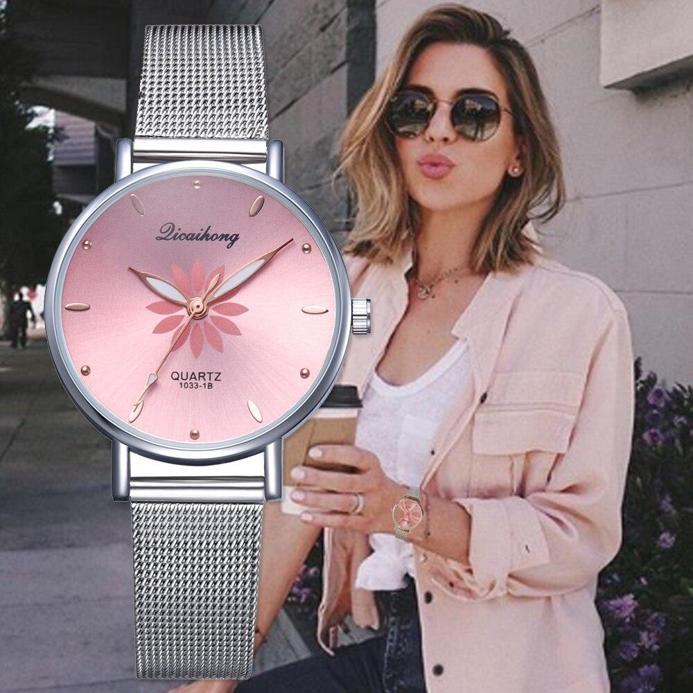 Watches For Women Luxury Silver Popular Pink Dial Flowers Metal Ladies Bracelet Quartz Clock Ladies Wrist Watch New Clock
