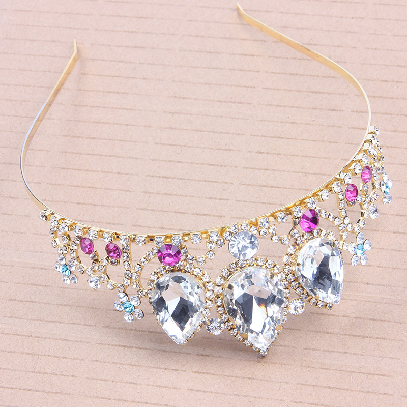 Princess Elegant Headwear Female Temperament Wedding Stage Performance Cosplay Halloween Festival Celebrate Rhinestone Crown