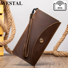 WESTAL men's leather wallets male clutch genuine le