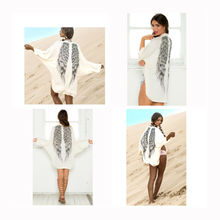 New Fashion Women Long Sleeve Coat Wing Print White Cardigan Tops Ladies Casual Loose Jacket Holiday Party Spring Autumn