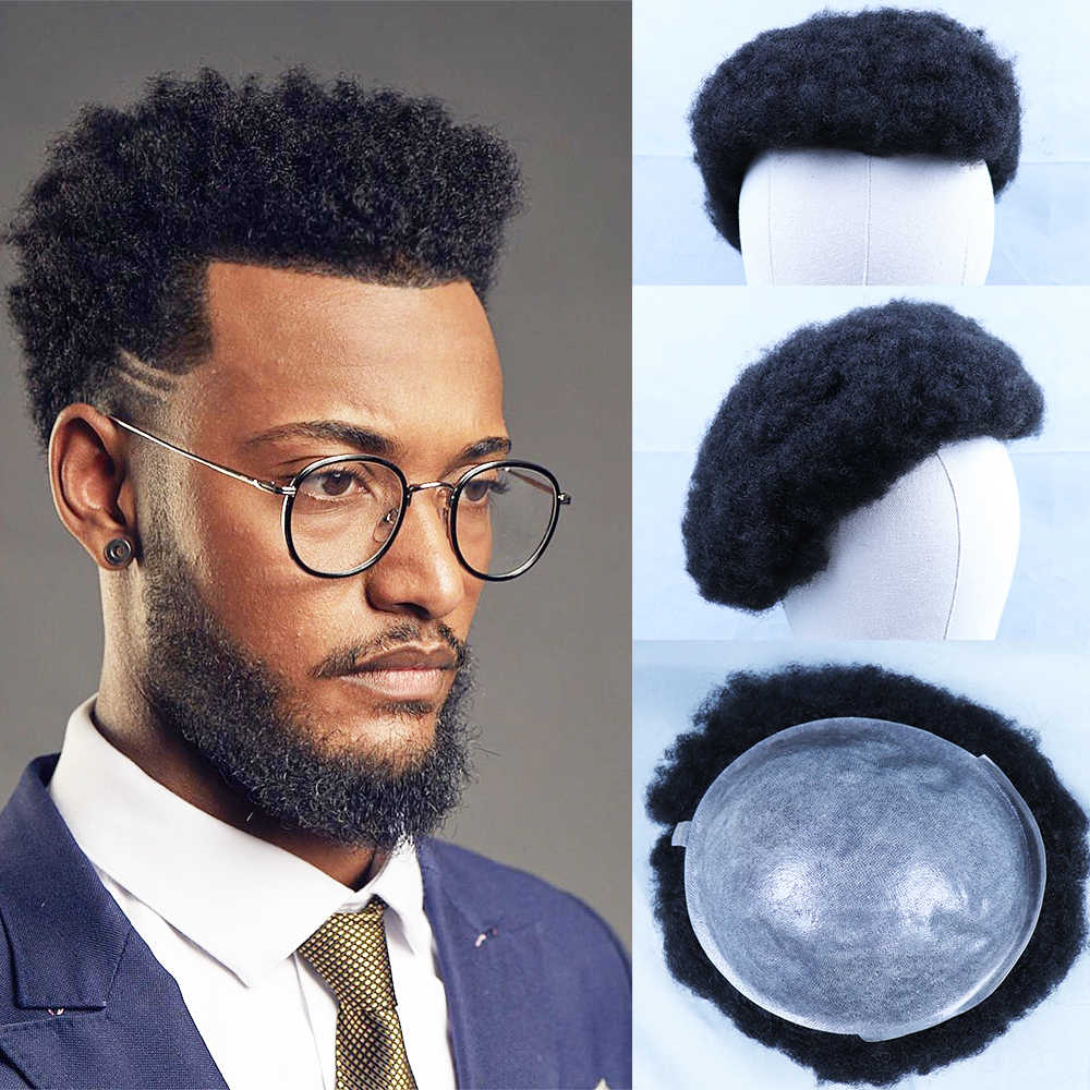 YY Wigs Natural Black 6 mm Afro Kinky Curly Human Hair Toupee for Men Wig Brazilian Remy Hair Replacement System PU Men's Toupee