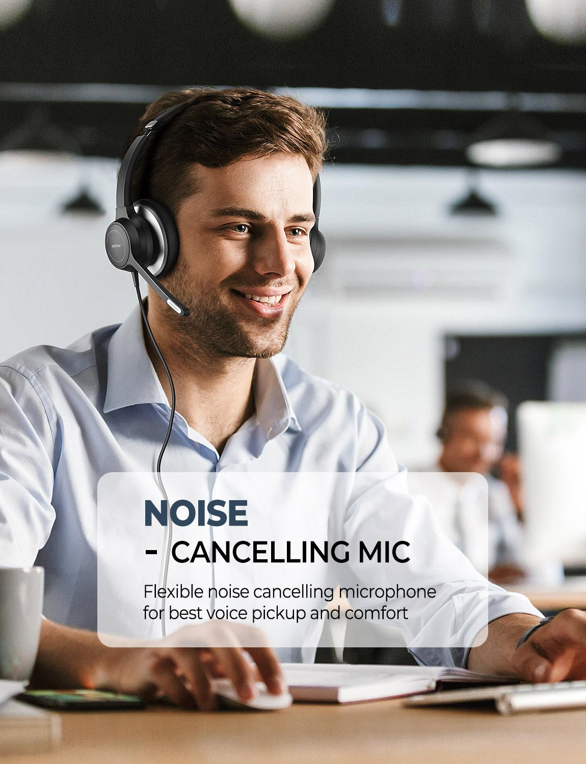 lowest price Mpow BH328 Office Headset Lightweight 3 5mm USB Computer Headset Noise Reduction Headphone for Call Center Skype PC Cellphone