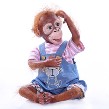 купить 52CM smooth and real touch bebes reborn Monkey twin baby doll 3/4 Silicone vinyl about 1.6KG Unique dolls toy for children gift по цене 4420.55 рублей