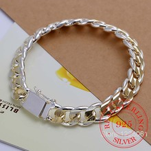 Jewelry Bracelet 925-Silver Exquisite Men's Fashion Thick 21cm 10mm-Width Pulseras