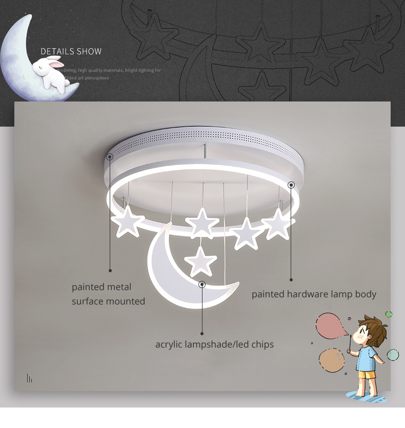 H925358869c4744a3898178af39d2d15bN Wall Mounted Lights | Surface Mount LED Lights | New Ceiling Lights Girl Children Room Bedroom Modern LED Lighting Surface Mount Remote Control Indoor Lamp Lampara Techo 001