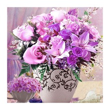 DIY Full Diamond Painting Flowers Cross Stitch Embroidery Diamonds Home Decor Purple Rose