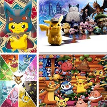 Pokemon Daimond Painting PocketMonster Full Square 5d Diy Diamond Embroidery Cartoon Cross-stitch Rhinestone Home Decor Gift A47 cartoon daimond painting sun moon full square 5d diy diamond embroidery abstract art cross stitch rhinestone home decor gift a45
