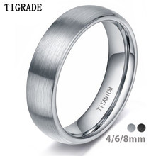 Tigrade 4/6/8mm Brushed Simple SILVER แหวนไท(China)