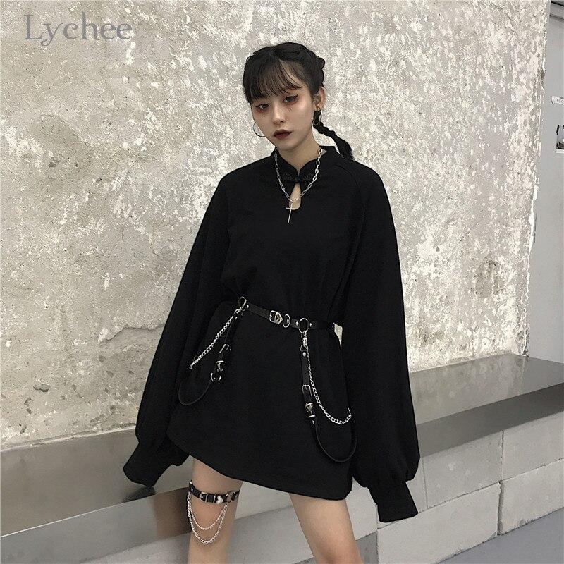 Lychee Harajuku Solid Girls Buckle Sweatshirt Chain Spring Autumn Lady Sweatshirts Casual Loose Stand Collar Women Pullover Tops