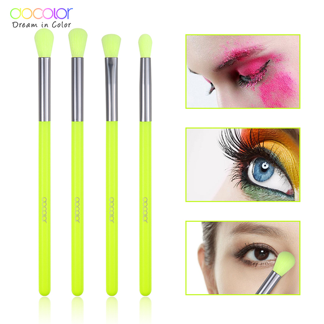 Docolor Makeup Brushes Professional 4pcs Makeup Brushes Set Eye Shadow Blending Eyeliner Eyelash Eyebrow Brush For Makeup Tool