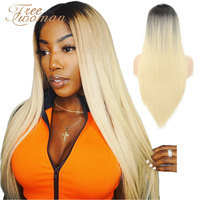 FREEWOMAN 613 Synthetic Lace Front Wig Ombre Straight Fake Hair Extension Cosplay Wigs For Women False Hair Blonde Daily Party