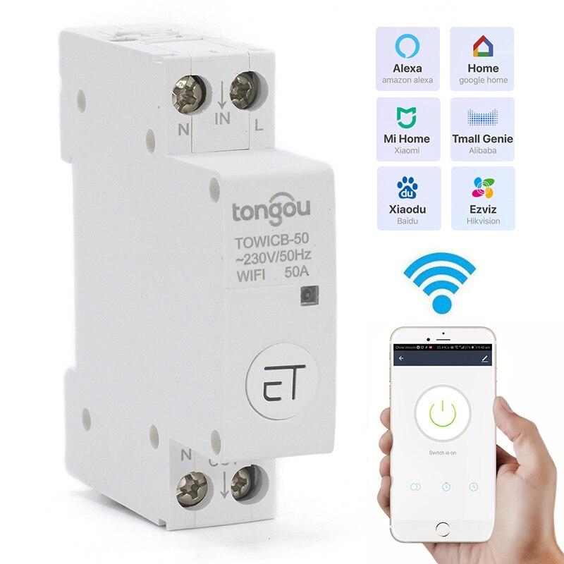 Smart WiFi Circuit Breaker 18mm Din Rail Main Switch Remote Control Work With Amazon Alexa Google Home 1P EWeLink APP
