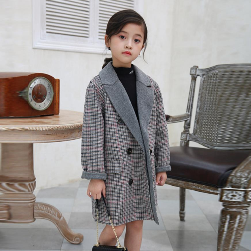 2020 New Girls Double-faced cashmere Overcoat Double-breasted Warm woolen coat Modis Plaid kids Wool Overcoat Outerwear Y2297