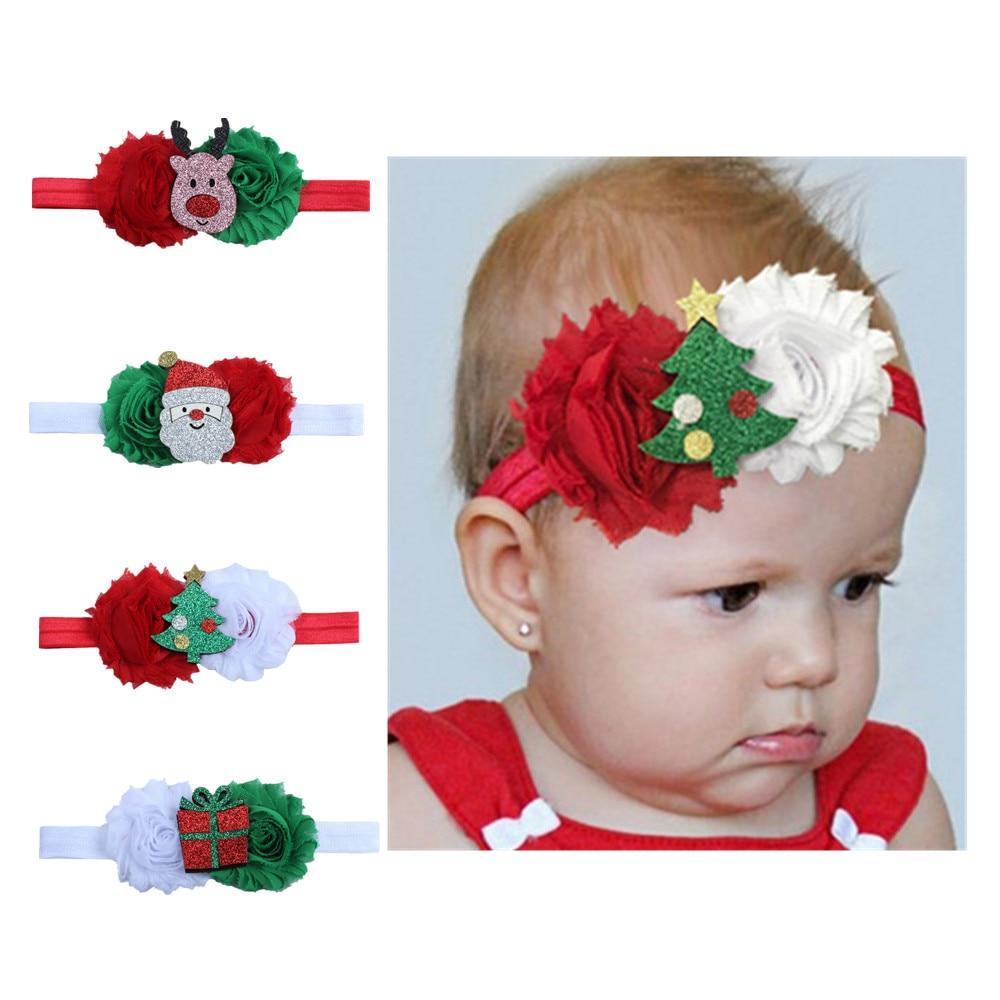 Baby Girl Hairbands Hair Clip 2019 Christmas Accessories Princess Green Red Newborn Headband X'MAS Santa Children Hair Bands H22