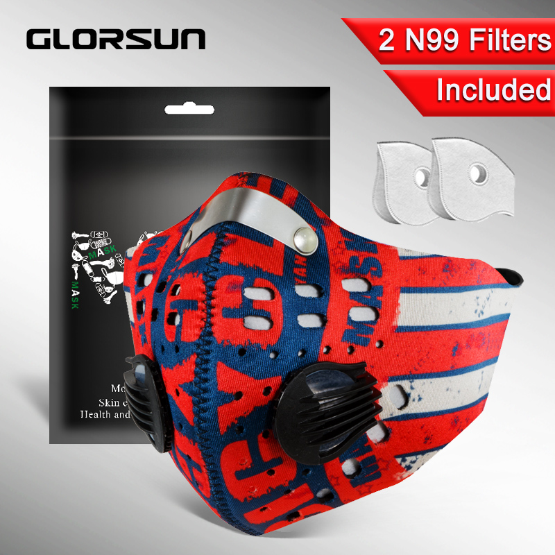 GLORSUN Pollution Mask Custom Neoprene N99 Anti Pm2.5 Motorcycle Bike Cycling Black Washable Mouth Sport Training Face Dust Mask