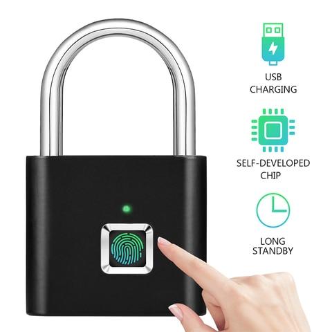USB Rechargeable Smart Keyless Electronic Fingerprint Lock Home Anti-theft  Safety Security padlock Door Luggage Case lock Pakistan