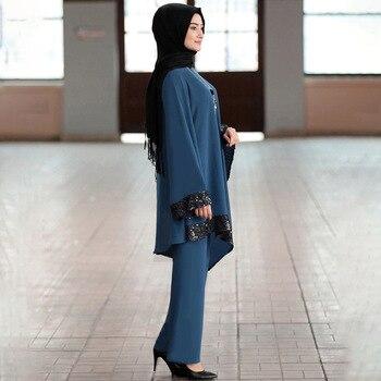 Ramadan 2 Piece Set Muslim Women Turkey Asymmetry Abaya Blouse Wide Leg Pants Kaftan Eid