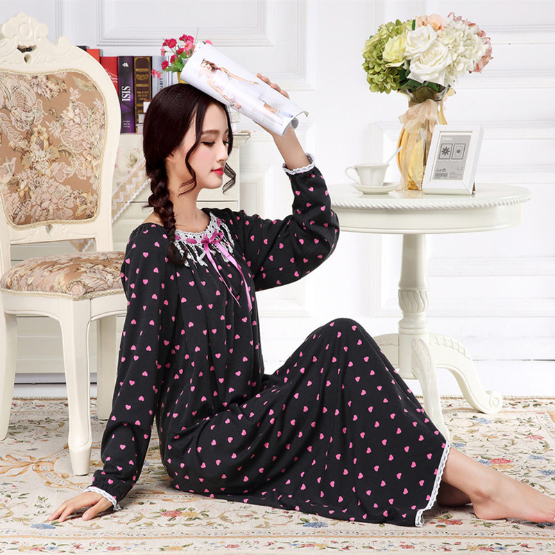 Spring Autumn Winter Ladies Long-Sleeved Sleepwear Knitted Cotton Princess Lady Extra Long Nightgown Lounge Intimate Lingerie