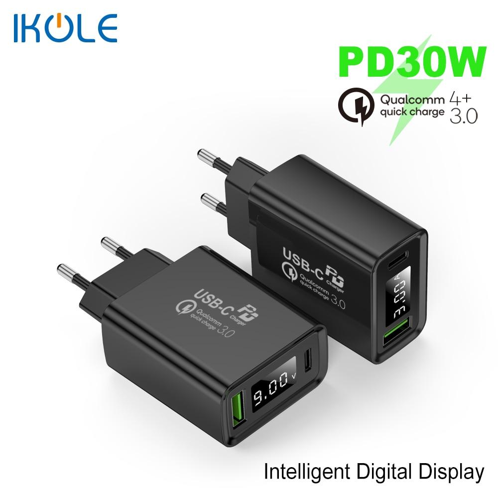 Зарядное устройство IKOLE PD, USB 5 А, PD30W, Type-C, 20 Вт, быстрая зарядка для iPhone 12, 11Pro, 8 X, QC4 +, QC3.0, быстрая зарядка для Samsung, Huawei, Xiaomi