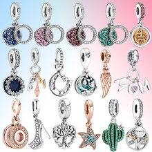 2021 nova pena starfish cactus sapato pingente diy talão caber pandora encantos originais prata 925 pulseira jóias para as mulheres