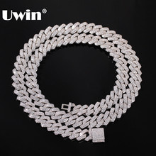 UWIN 13mm Micro Pave Prong Cuban Chain Necklaces Fashion Hiphop Full Iced Out Cubic Zirconia Jewelry For Men Women(China)