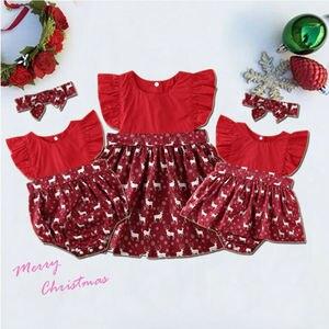 Boże narodzenie siostra pasujące ubrania maluch dziecko dziewczynka ubrania renifer Romper sukienka