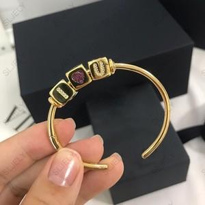 Image 5 - DIY BANGLE Fashion Unique Yellow Gold Color Zircon Initial Letter Numeral Symbol Dice Open Cuff Bracelet for Women