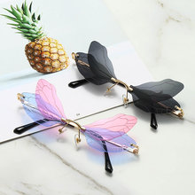 Moda çerçevesiz güneş gözlüğü kadın Vintage Dragonfly Steampunk güneş gözlüğü erkekler çerçevesiz degrade şeffaf Lens gözlük 2020